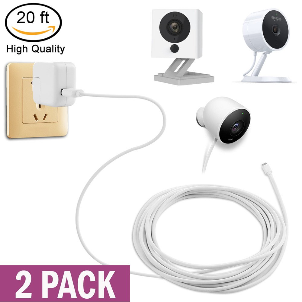 Security Camera Power Extension Cable - 20 Ft Charging Cable for Wyze Cam, Yi Camera, Oculus Go, Echo Dot Kid Edition, Nest Cam, Netvue, Arlo Pro Q, Blink, Furbo Dog And Home Security Camera (2 Pack)