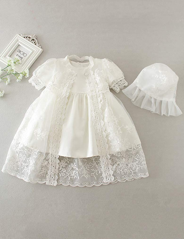 Aorme Christening Gown 2 Pieces Christening Dress for Girls Baptism Gown with Bonnet