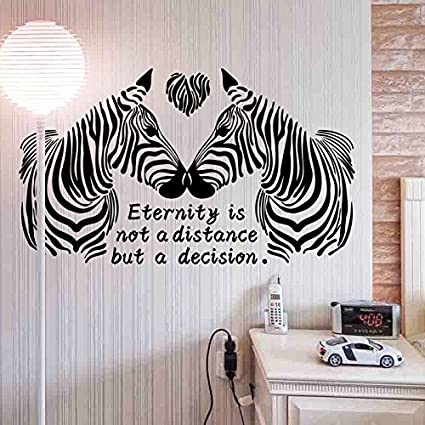 Let\'S Diy Black White Love Zebras Wall Stickers For Bedroom Animal Decor  For Marriage Room 3D Home Decor