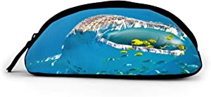 Whale Shark Pencil Case Leather Storage Pen Bag Pouch Holder Maker Stationery Organizer with Zippers for School Student Girls Boys Adult