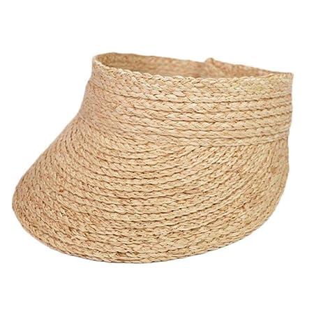 Señoras UV Roll Up Sun Visor Sombrero Mujeres Sun Visor Straw ...