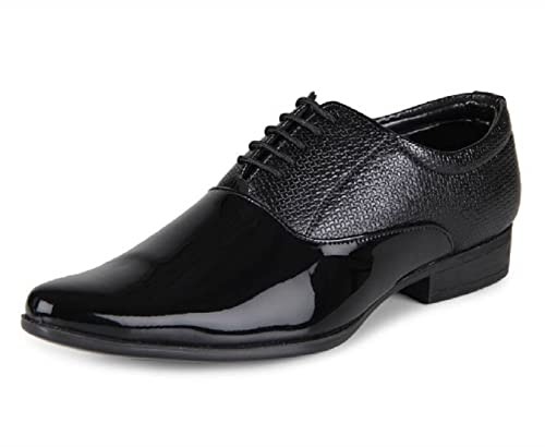 b464ab1ca0b DEEKADA with device dk Men s Black Patent Leather Lace up Formal Shoes - 6