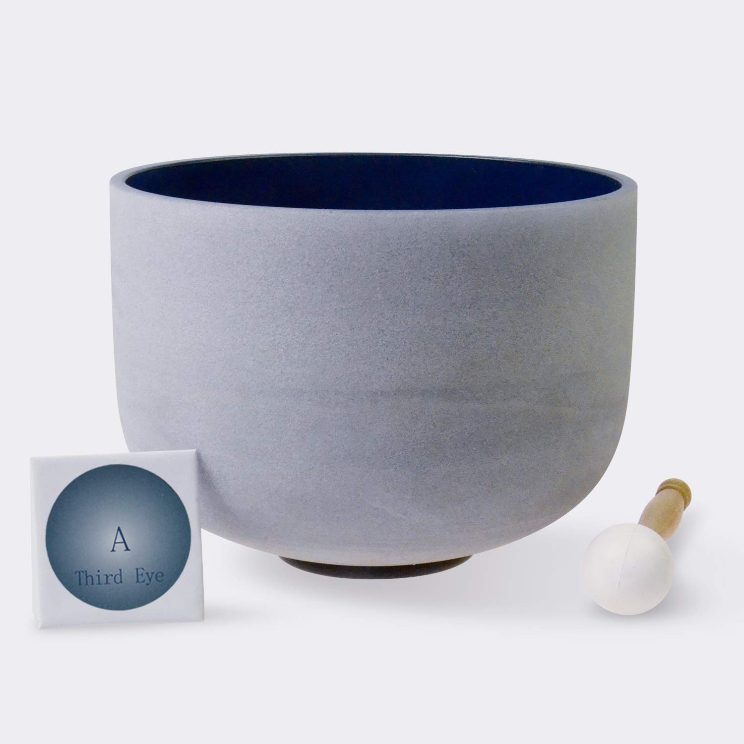 TOPFUND Singing Bowls 432Hz A Note Crystal Singing Bowl Third Eye Chakra Indigo Color 8 inch (O-Ring and Rubber Mallet Included)