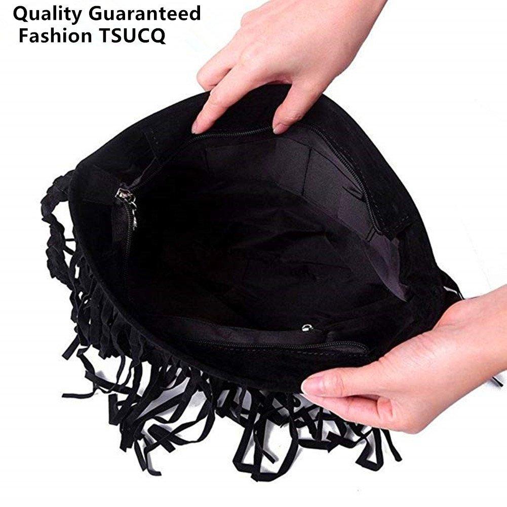 FTSUCQ Womens Fringe Tassel Faux Suede Messenger Bag Hobo Shoulder Bags Crossbody Handbag (Black) by FTSUCQ (Image #2)