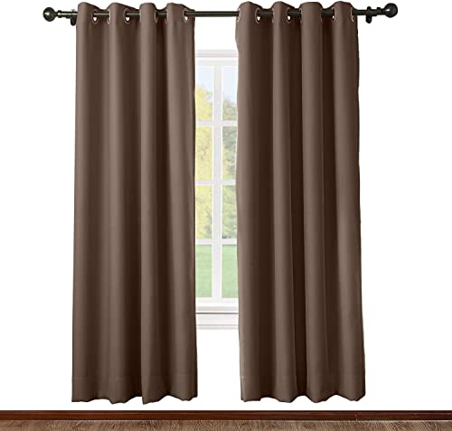 ChadMade Solid Thermal Insulated Blackout Curtain Drape Antique Bronze Grommet Eyelet Chocolate 52W x 102L Inch Set of 2 Panels