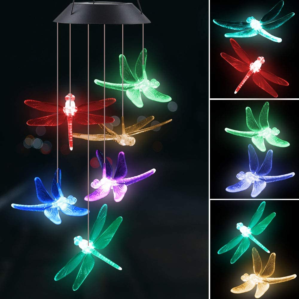Give Me Solor Wind Chimes Outdoor Waterproof, LED Six Dragonfly Color Changing Memorial Wind Chime - Solar Mobile Lights for Home, Best Birthday Gifts for Mom Grandma Garden Yard Party Decoration : Garden & Outdoor