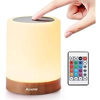 Auxmir Luz Nocturna LED, Lámpara de Mesita de Noche, Iluminación de Ambiente Interior, Control Remoto y Tactil…