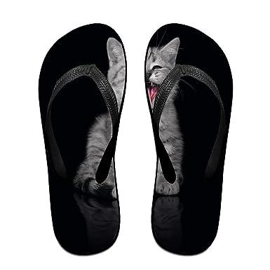 Couple Flip Flops Baby Tongue Kittens Print Chic Sandals Slipper Rubber Non-Slip Beach Thong Slippers