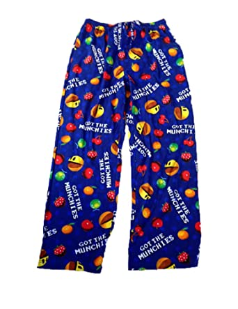 Pacman Mens Video Arcade Pac Man Game Pajama Lounge Pants- Blue - Medium