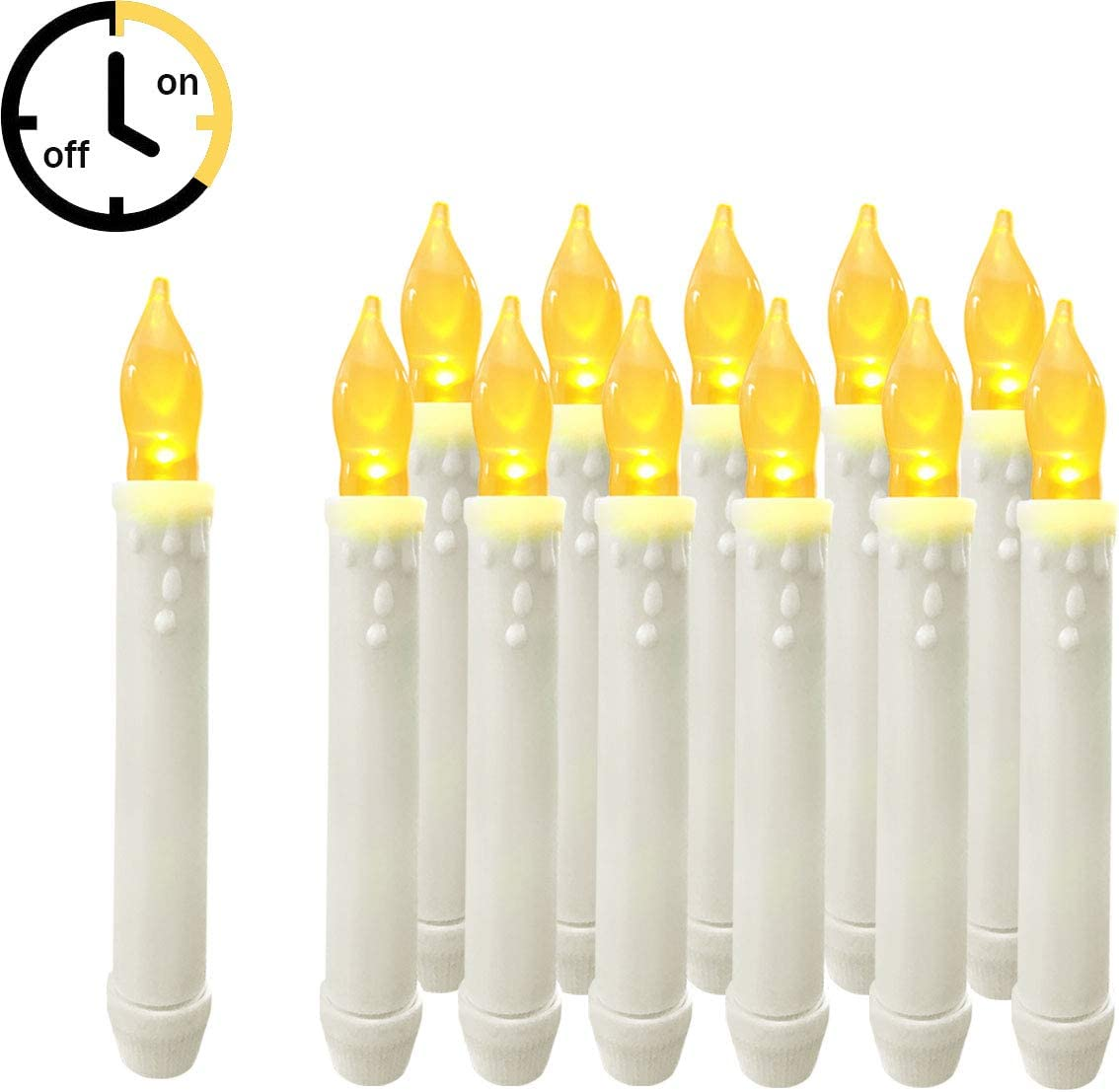 12PCS Battery Operated Flameless LED Timer Taper Window Candles Lights Wedding, Churches,Floating Candles For Birthday Party Decorations, Yellow