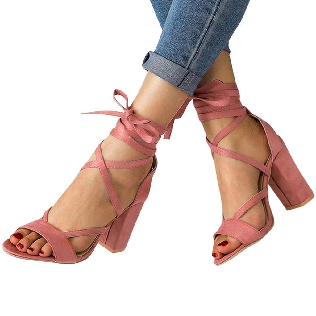 Sandals for Women Solid Cross Strap Kitten Heels Ankle Lace Up Square Sandals Roman Shoes(39, Pink)