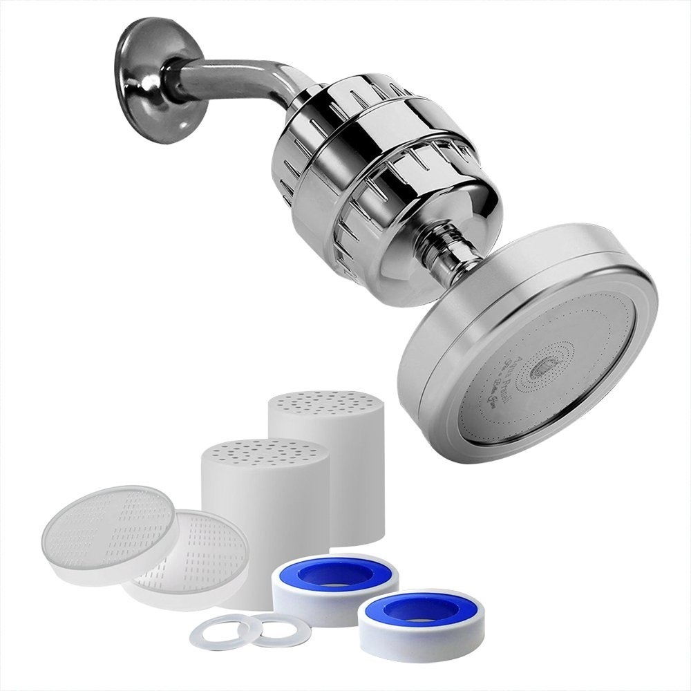 {NEW 2018} Best Luxury Filtered Shower Head Unit (Metal) Cartridge has Vitamins C + 12-Stage Shower Water Filter + 4 Filter Cartridges Included - Boost Skin/Hair Health - Reduce Hard Water/Chlorine