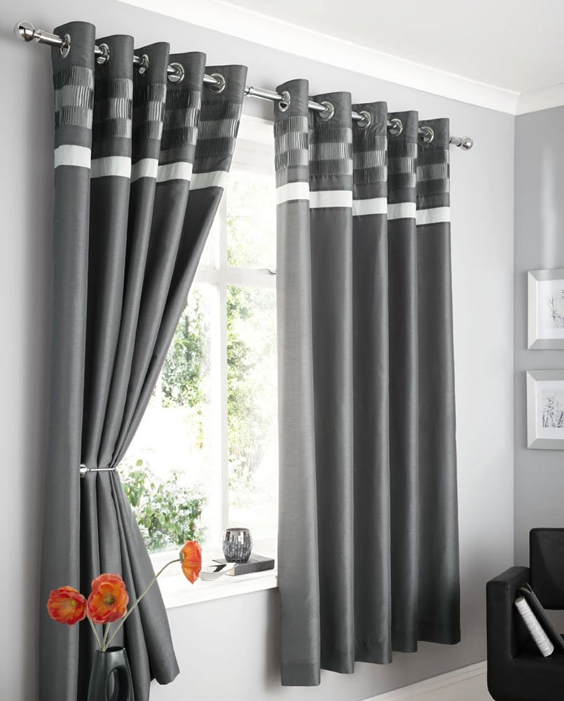Thermal curtains grey - Charcoal Grey Faux Silk Lined Curtains With Eyelet Ring Top 66 X 72 Opulence