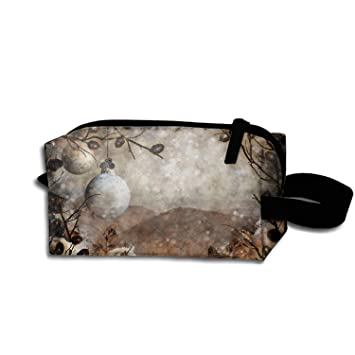 Amazon.com: Roomy Cosmetic Bag Christmas Mountains Toiletry ...