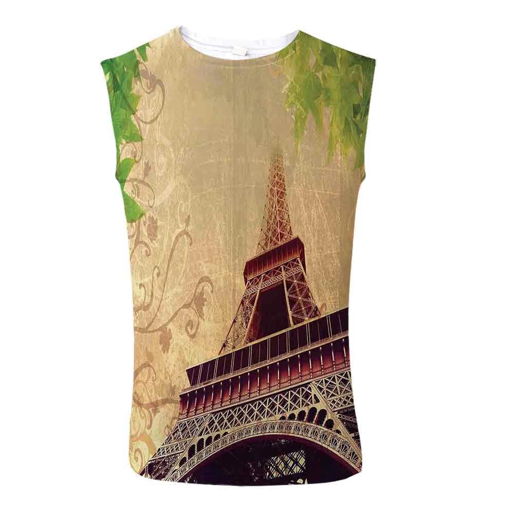Mens Casual Sleeveless Crew Summer Egyptian Decor Printing Tank Top Vest Blous