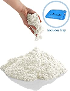 CoolSand Off-White 5 Pound Refill Pack - Including: 5 Pounds Moldable Indoor Play Sand, Storage Bucket and Inflatable Sandbox