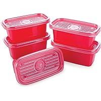 Conjunto de Potes Retangulares Pop com 5 Unidades, Plasútil, Vermelho