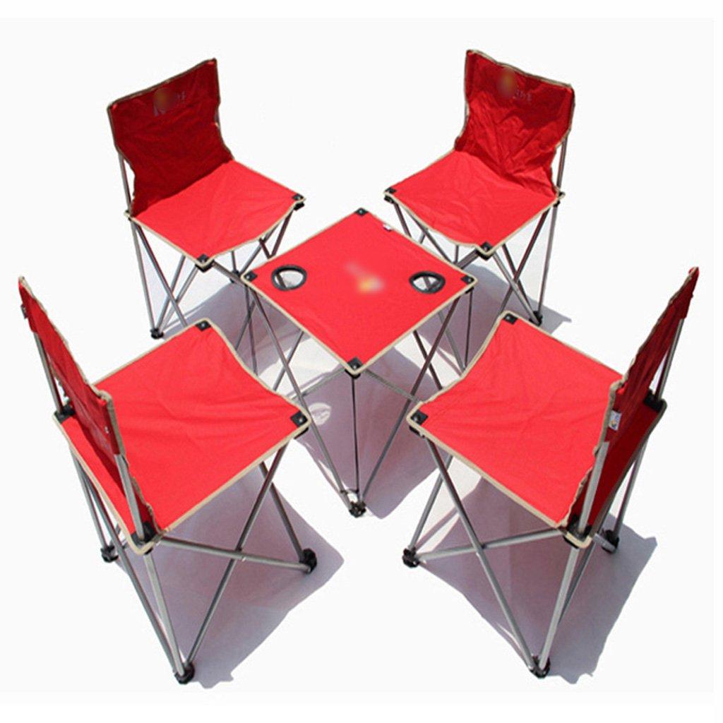 ZGL 旅行椅子 屋外折りたたみテーブルと椅子5つの単純な折り畳みテーブルと椅子の色のオプションのセット ( 色 : 赤 ) B07CG6SDQ1  赤