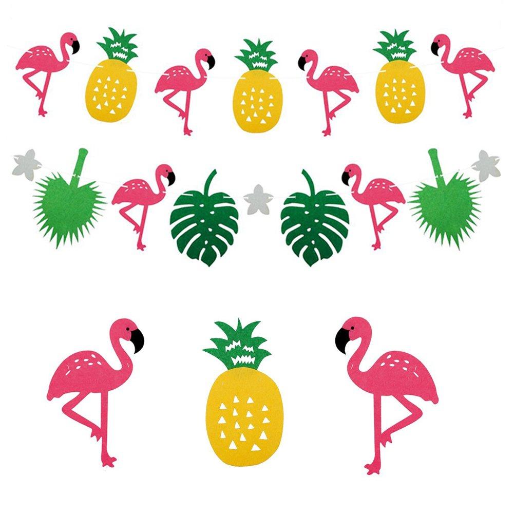 Amazon.com: Hawaii Pineapple Flamingo Banner Tropical Themed Party ...