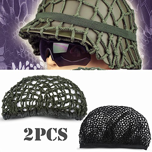 Tactical Helmet Net Cover 2pcs Camouflage M1 Helmet Net Army Green + Black Cotton Helmet Camo Net Cover for M1 M35 M88 Helmet