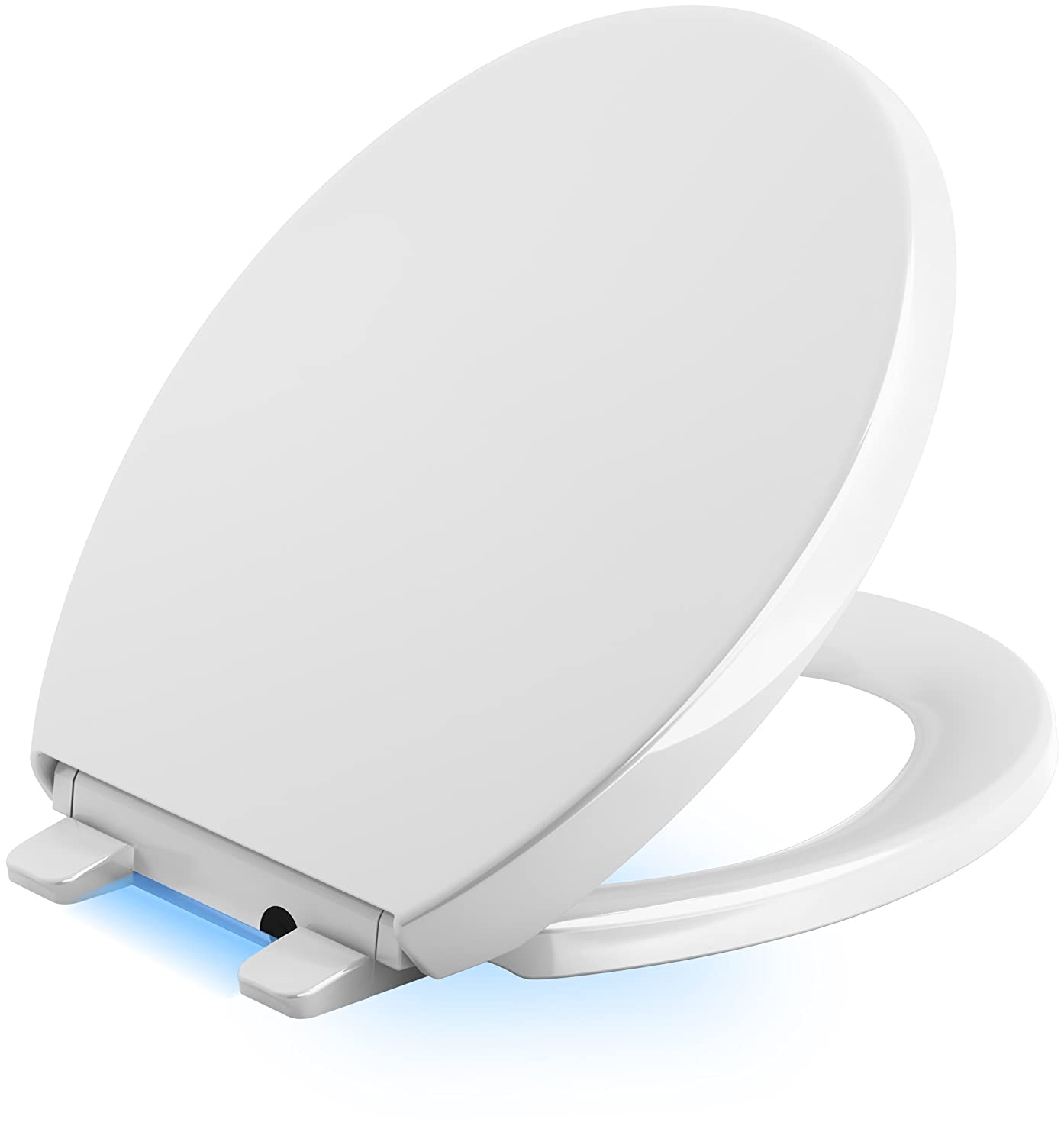 parts of a toilet seat. KOHLER K 5638 0 Reveal Nightlight Quiet Close with Grip Tight Bumpers  Elongated Toilet Seat White Amazon com