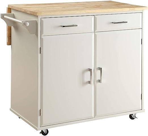 Amazon.com - Overstock Townville Kitchen Cart, White Black ...