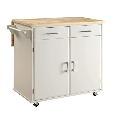 Amazon.com - Overstock Townville Kitchen Cart, White Black ...