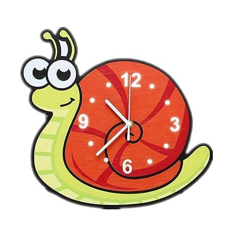 Csxg Relojes de Pared Dibujos Animados Animales niños Estudiantes Dormitorio guardería pequeño Caracol Digital silencioso Reloj