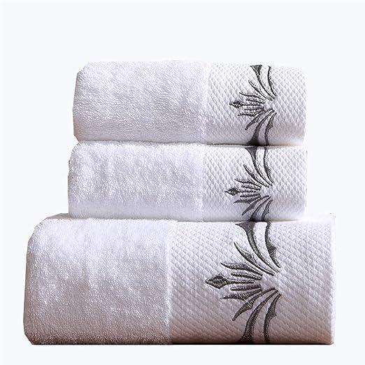 3 Piezas Blanco Baño Juegos De Toallas Bordado Suave Toallas 100% Algodón Egipcio Toalla De Microfibra Absorbente ...