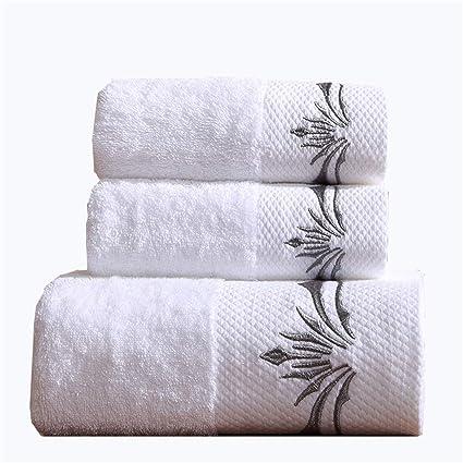 3 Piezas Blanco Baño Juegos De Toallas Bordado Suave Toallas 100% Algodón Egipcio Toalla De