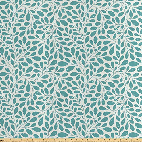 Stylized Leaves - Lunarable Leaves Fabric by The Yard, Grunge Looking Swirling and Stylized Leaves Stems Botanic Gardening Theme, Decorative Satin Fabric for Home Textiles and Crafts, 10 Yards, Teal Off White