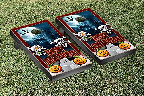[Happy Halloween Holiday Themed Cornhole Game Set Wooden] (Halloween Bean Bag Toss)