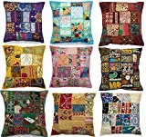 10pc Embroidered Sari Patchwork Cushion Cover , 17x17'' Indian Ethnic Pillow Covers , Handmade Patchwork Cushion Pillow , Sari Patch Throw Pillow