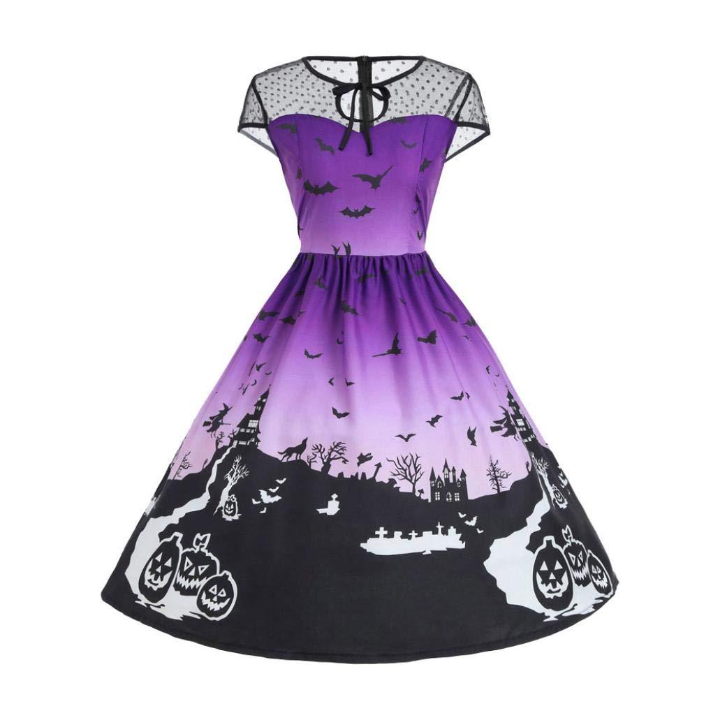 Vestido de Halloween con Encaje Estampado Negro, Covermason Vestido de Calabaza de Halloween Vestido de Manga Larga de Fantasma: Amazon.es: Ropa y ...