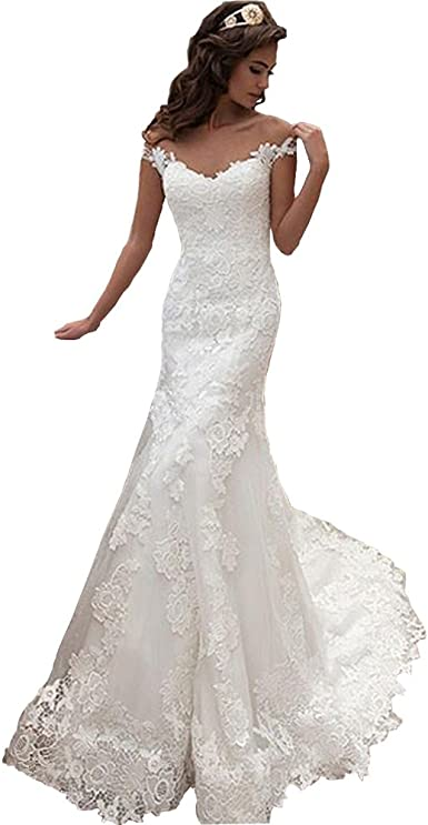 Amazon Com Wedding Dress Women S Lace Mermaid Bridal Dresses 2021 Sexy Backless Wedding Gown Party Dress Clothing