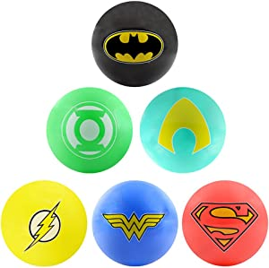AAG DC Comic Justice League Logo Balls - 6pc Set of Bright 5 inch Vinyl Balls - Inculdes Logos for Superman, Batman, Wonder Woman, The Flash, Green Lantern and Aquaman