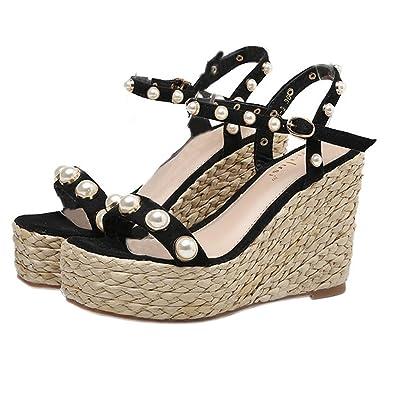 a467bfbecc3 Xianshu Women s Bohemian Ankle Strap Straw Sandal Beaded Peep Toe Wedge Heel  Summer Shoes