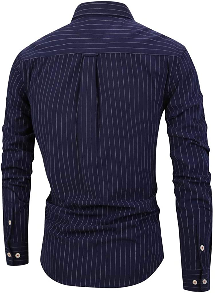 Camisa de AlgodóN de Manga Larga Y Corte EstáNdar para Hombre, Camisa A Rayas para Hombre Moda Manga Larga Cuello Mao Fit Shirt Hombres BáSica Casual Blusa con BotóN Camisas Tops Tallas