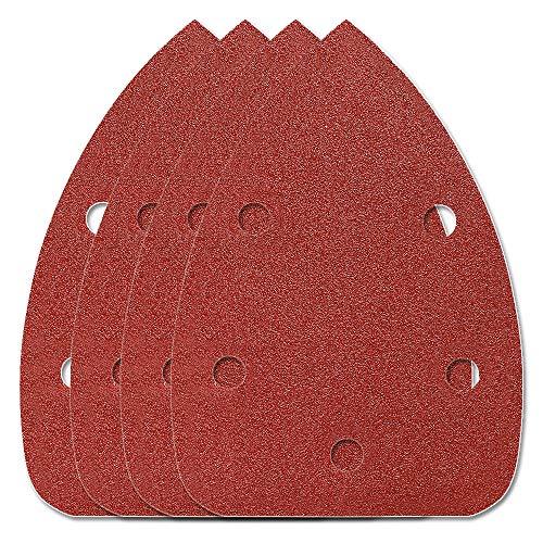 HIFROM 65pcs Mouse Sander Pads Sanding Sheets Aluminum Oxide Hook & Loop 140mm 5 Hole 120 Grits Sanding Paper ()