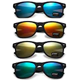 WHOLESALE UNISEX 80'S RETRO STYLE TRENDY SUNGLASSES - 4 PACK (Matte Black | Color Mirrors, 52) (Color: Matte Black | Color Mirrors, Tamaño: Large)