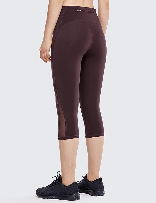 CRZ YOGA Mujer 3/4 Malla Leggings Deportivos Pantalones Fitness Running Compresion con Bolsillo -43cm