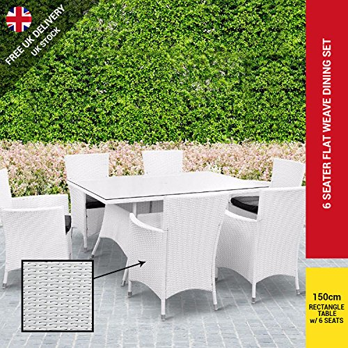 BillyOh Rosario Rattan Dining Set Patio Rectangular Table with 6 Chairs - White