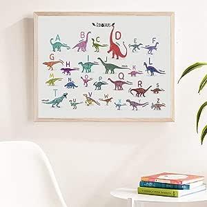 Alfabeto dinosaurio animal print aprender carta cartel