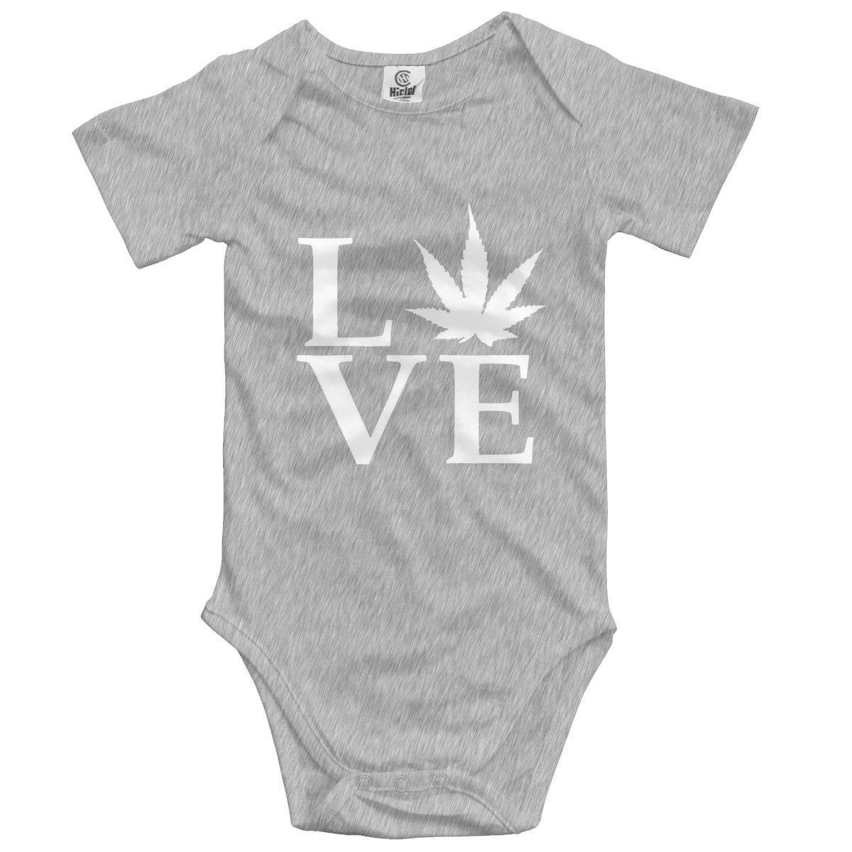 Love Pot Weed Pot Leaf Baby Romper 0-18 Months Newborn Baby Girls Boys Layette Rompers Black