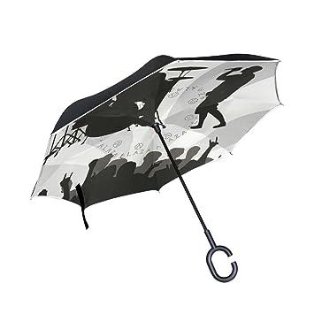 leisisi Reverse paraguas diseño doble capa resistente al viento UV Protección reverso plegable paraguas paraguas de