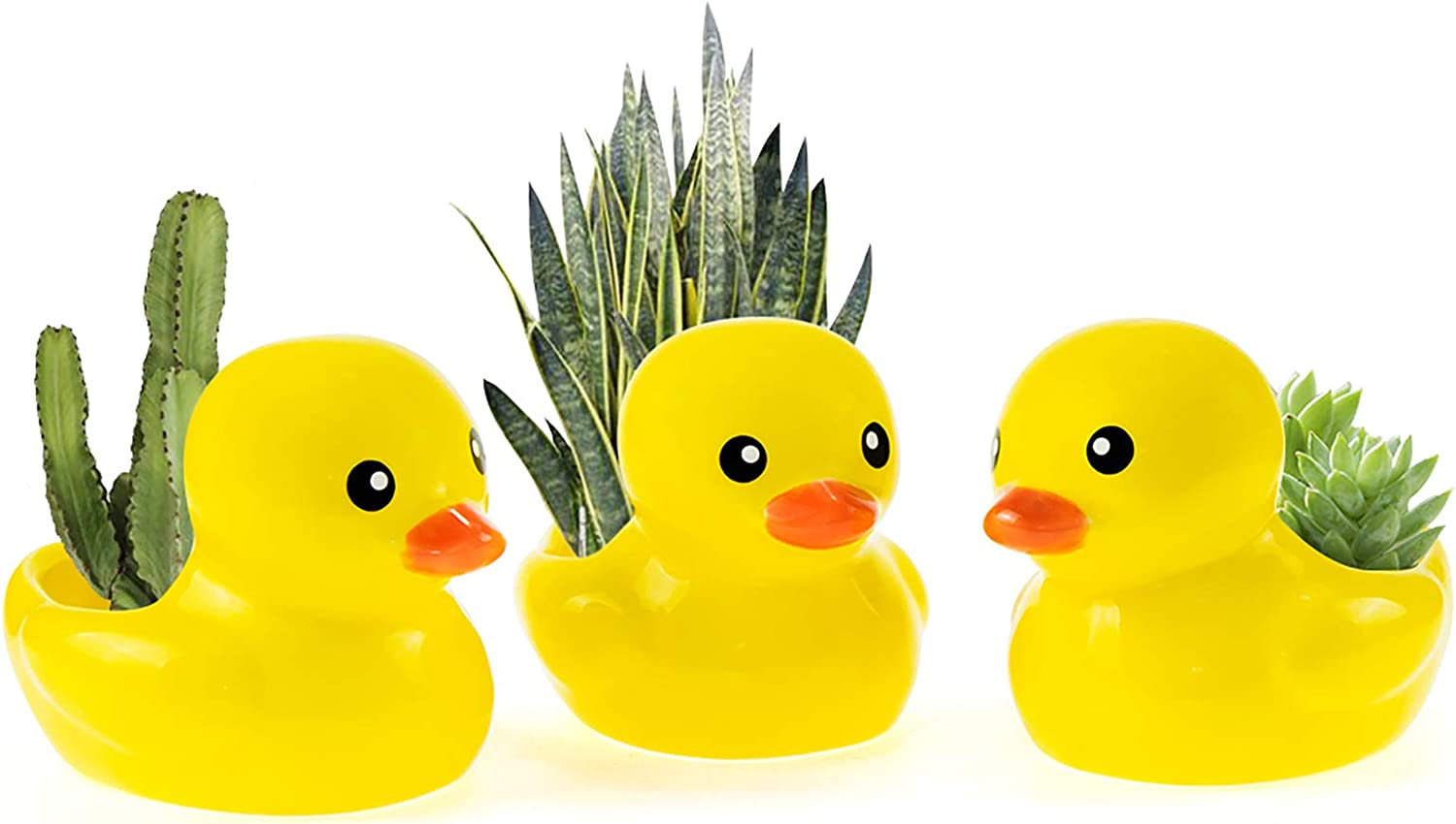 FairyLavie 4'' Yellow Duck Ceramic Succulent Pots Flower Plant Pots Cute Mini Pots for Plants, Perfect for Home Office Decor and Ideal Gift for Family Friends Colleague, Set of 3 - PLANTS NOT INCLUDED