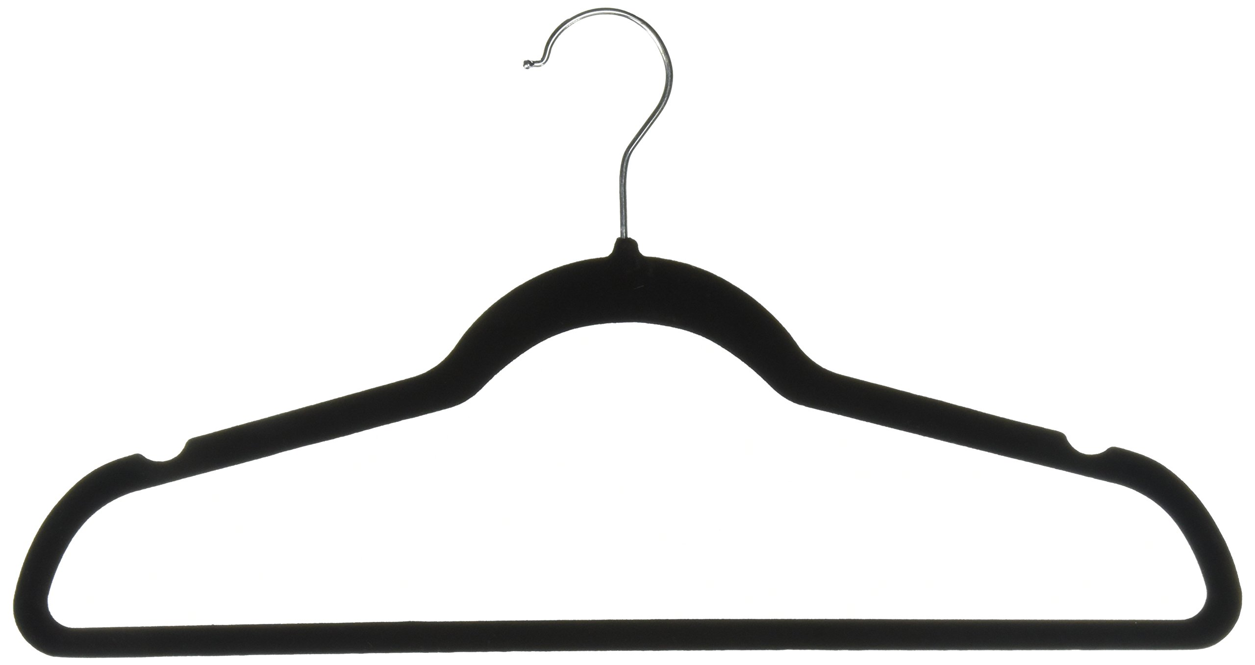 PEP-STEP Velvet Hangers Non-Slip Flocked Clothes Hangers [25 Pack] Ultra Thin Space Saving Design for Men and Women Dress Suit - 360 Degree Swivel Hook - Heavy Duty Construction with - Black