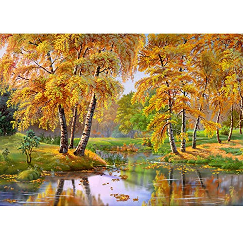 MXJSUA 5D DIY Diamond Painting by Number Kit Round Dril Beads Crystal Rhinestone Embroidery Cross Stitch Picture Supplies Arts Craft Wall Sticker Decor Golden Forest 12x16In