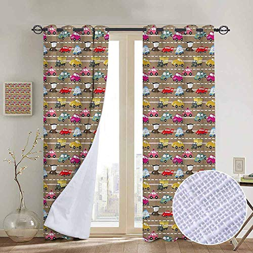 NUOMANAN Bedroom Curtains 2 Panel Sets Cars,Old Fashioned Colorful Vehicles Stuck in Traffic on Urban City Highway Trucks Taxis, Multicolor,Complete Darkness, Noise Reducing Curtain 52