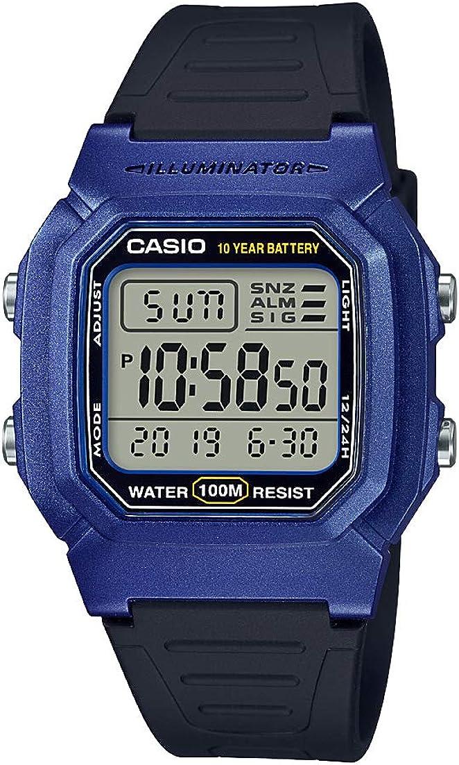 Casio Men's Classic Stainless Steel Quartz Watch with Resin Strap, Black, 18.2 (Model: W-800HM-2AVCF)